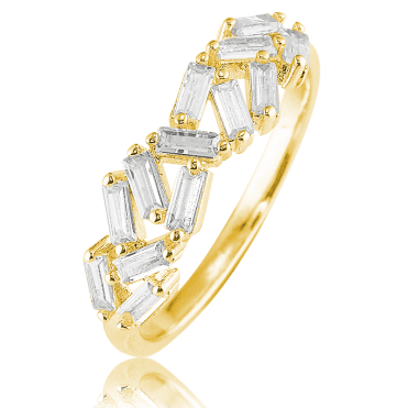 Glittering CZ Baguette Ring Plated with 18ct Gold