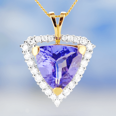Trillion-cut Tanzanite & Diamonds in a 6ct Art Deco Showpiece