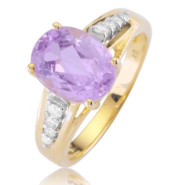 3cts of Finest Brazilian Kunzite above Channel-set Diamonds