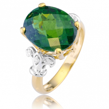 Tuilleries Ring with a Verdant 8ct Tourmaline & Diamonds
