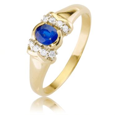 Signet Style Sapphire & Diamond Ring