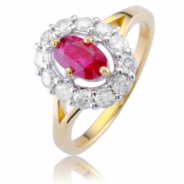 Unusual Floating Cluster with 2cts of Ruby & Diamonds