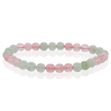 55cts of Green & Strawberry Quartz on a Comfort-Stretch Bracelet