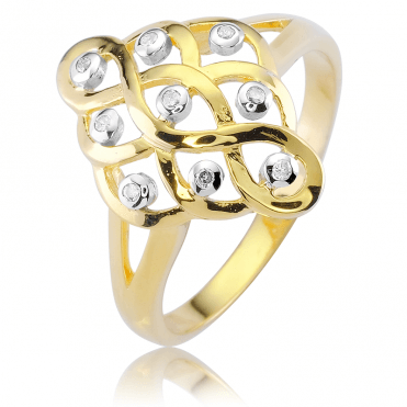 Celtic Dream Ring Weaving with 18ct Gold & Diamonds