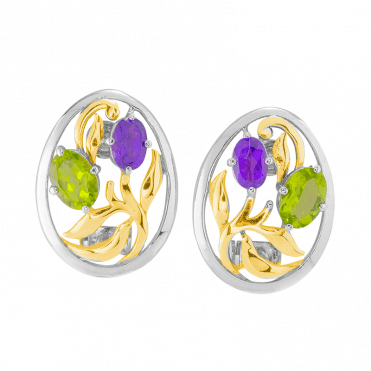 Jewelled Garden Clip Earrings Nuanced with 18ct Gold