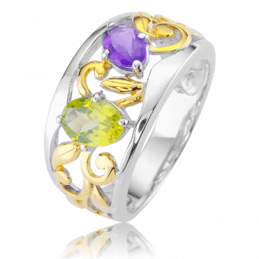 Jewelled Garden Ring Lit by 18ct Gold