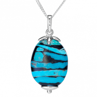 Deep Ocean Pendant with Strata of Turquoise & Jet