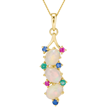 Tumbling Opal Pendant Lit with Jewelled Colour