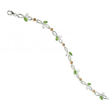 Ladies Shipton and Co Exclusive Silver and Multiple Stone Peridot Bracelet AQA169MU41
