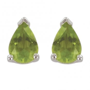 Ladies Shipton and Co Silver and Pearshaped Peridot Stud Earrings EQA074PE