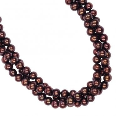 Ladies Shipton and Co Silver 3 Row Chocolate Freshwater Pearls Beads BOJ138FP