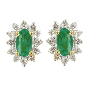 Ladies Shipton and Co Exclusive 9ct Yellow Gold Classic Cluster Emerald Earrings EYD061EMD