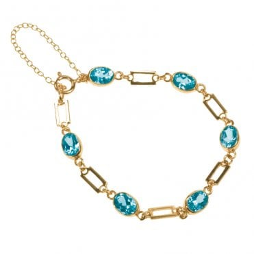 Ladies Shipton and Co Exclusive 9ct Yellow Gold and Blue Topaz Bracelet AY1171BT