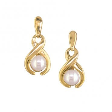 Ladies Shipton and Co Exclusive 9ct Yellow Gold and Cultured Pearls Earrings EY1928CP