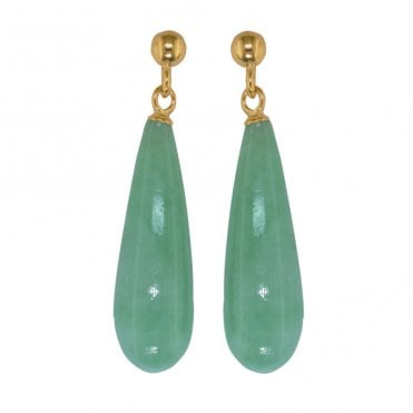 Ladies Shipton and Co 9ct Yellow Gold and Green Jade & Jadeite Earrings EY1431GJ