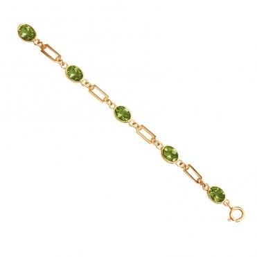 Ladies Shipton and Co Exclusive 9ct Yellow Gold and Peridot Bracelet AY1171PE