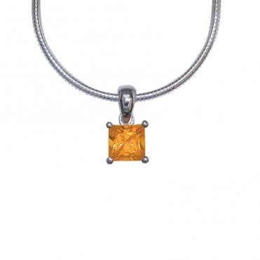 Ladies Shipton and Co Silver and Citrine Pendant including a 16 Silver Flexisnake Chain PQA067CI