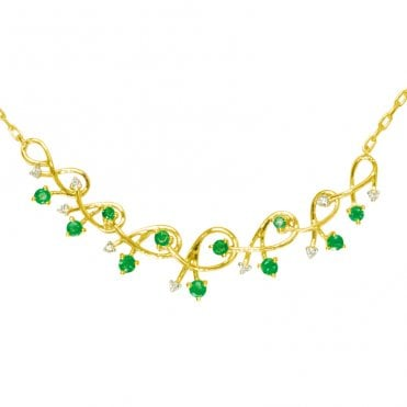 Ladies Shipton and Co Exclusive 9ct Yellow Gold Diamond and Emerald Graduated Shrimp Necklace NYD008EMD