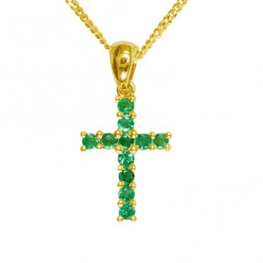 Ladies Shipton and Co Exclusive 9ct Yellow Gold 11 Stone Emerald Cross Pendant including a 16 9ct Chain PYD029EM