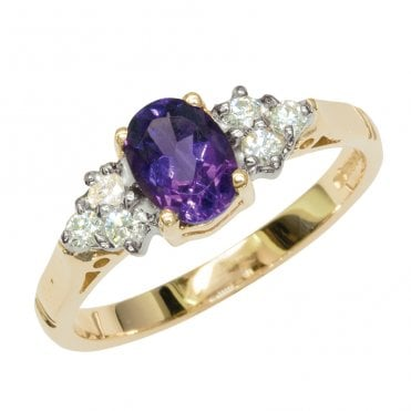 Ladies Shipton and Co Exclusive 9ct Yellow Gold Oval Amethyst and 6 Stone 18pt Diamond Ring RYX078AM