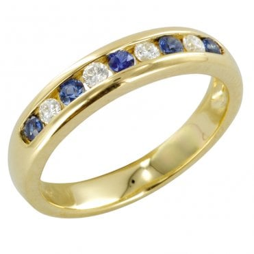 The Hamptons Half Eternity Ring in Sapphire & Diamond