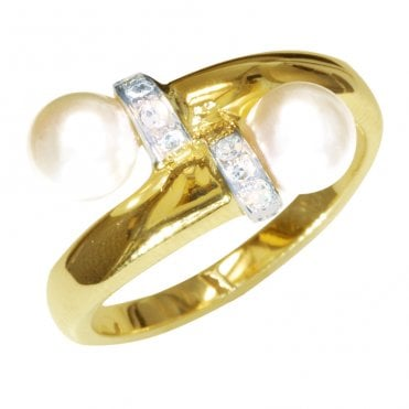 Ladies Shipton and Co Exclusive 9ct Yellow Gold Diamond Cuff and Cultured Pearl Ring RYX105CP
