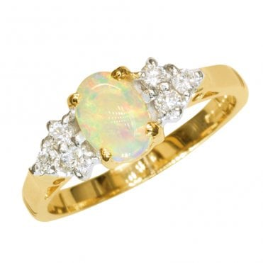 Ladies Shipton and Co Exclusive 9ct Yellow Gold Oval Autrailian Opal Ring with 6 Diamond on Shoulders RYX078OP