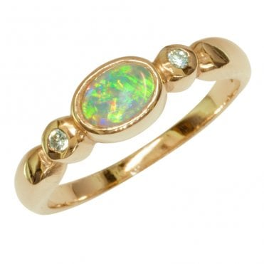 Ladies Shipton and Co Exclusive 9ct Yellow Gold Flsuh Set Opal and Diamond Ring RYX080OP