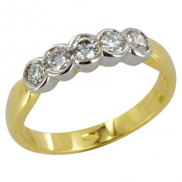 Ladies Shipton and Co Exclusive 18ct Yellow Gold Half Carat Flush Set 5 Stone Diamond Half Eternity Ring S07791DI