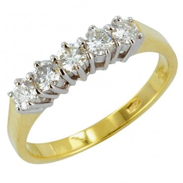 Ladies Shipton and Co Exclusive 18ct Yellow Gold Half Carat Claw Set 5 Stone Diamond Half Eternity Ring S07851DI