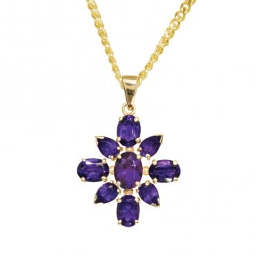 Ladies Shipton and Co Exclusive 9ct Yellow Gold and Amethyst Pendant including a 20 9ct Yellow Gold Chain PY1359AM