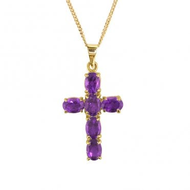 Ladies Shipton and Co 9ct Yellow Gold and Amethyst Pendant including a 20 9ct Yellow Gold Chain PY1460AM
