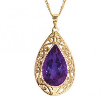 Ladies Shipton and Co Exclusive 9ct Yellow Gold and Amethyst Pendant including a 16 9ct Chain PY1558AM