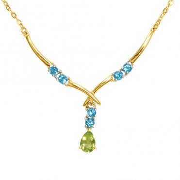Ladies Shipton and Co Exclusive 9ct Yellow Gold and Multiple Stone Peridot Necklace NYG002MU3