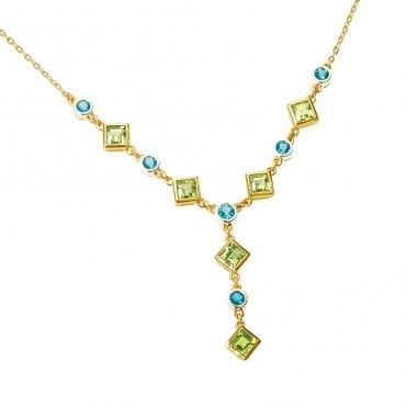 Ladies Shipton and Co Exclusive 9ct Yellow Gold and Multiple Stone Peridot Necklace NYG007MU3