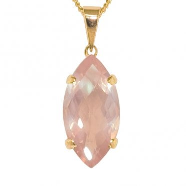 Ladies Shipton and Co 9ct Yellow Gold and Rose Quartz Pendant including a 16 9ct Chain PY2207RQ1
