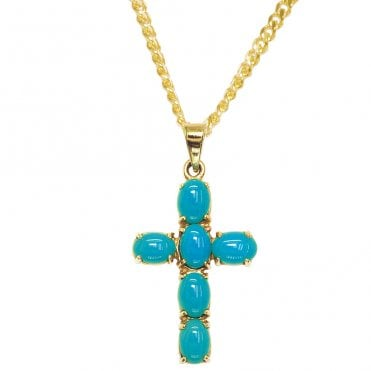 Ladies Shipton and Co 9ct Yellow Gold and Turquoise Pendant including a 16 9ct Chain PY1460TQ