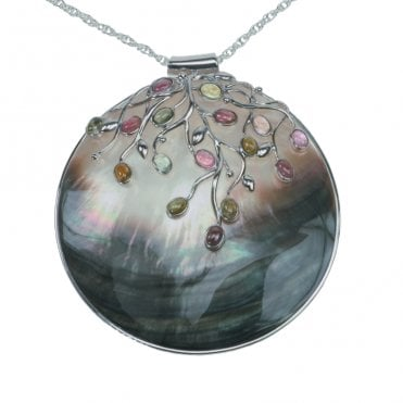 Ladies Shipton and Co Exclusive Silver and Multiple Stone Pendant including a 16 Silver Flexisnake Chain TTL044MU