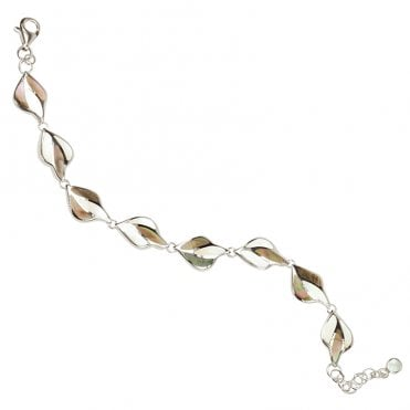 Ladies Shipton and Co Exclusive Silver Black and White Mother of Pearl Mosaic Flames Bracelet TKW410PM