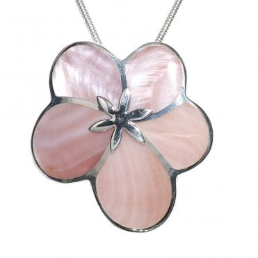 Ladies Shipton and Co Exclusive Silver Cloud Flower Pink Mother of Pearl Pendant including a 16 Silver Flexisnake Chain TKW345PM