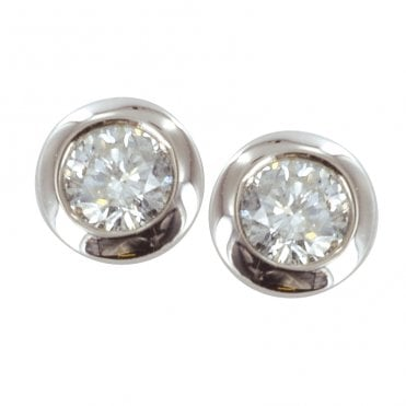 Ladies Shipton and Co 9ct White Gold Classic Diamond Stud Earrings TGE004DI