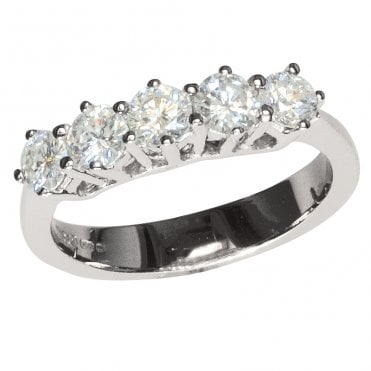 Ladies Shipton and Co 18ct White Gold % Stone 1ct Half Eternity Diamond Ring TAR291DI