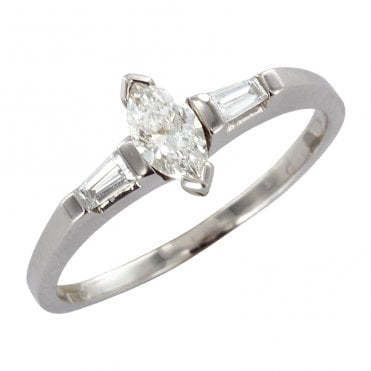 Ladies Shipton and Co Exclusive 18ct White Gold Half Carat Marquies and Tapered Bagette Shoulder Diamond Ring TJS008DI