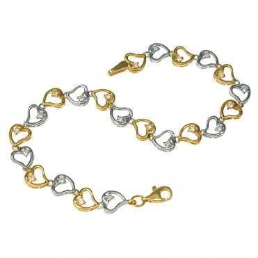 9ct Y/W Heart+C/Z Links B'lt