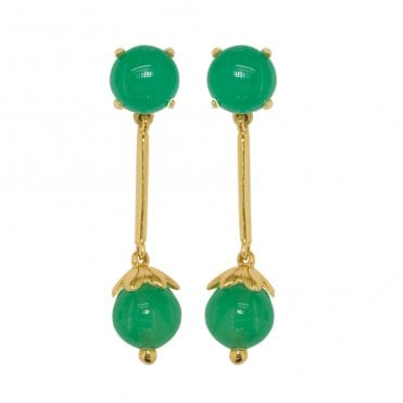 Ladies Shipton and Co Exclusive 9ct Yellow Gold and Green Jade & Jadeite Earrings TPL275GJ