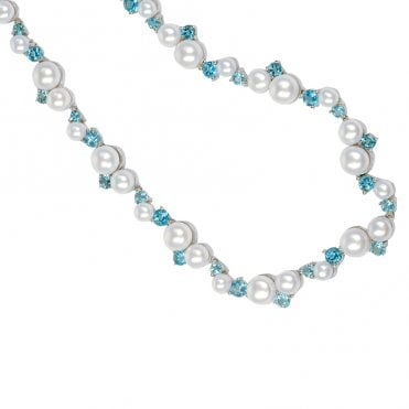 Ladies Shipton and Co Exclusive Silver and Blue Topaz Necklace NQA181BTP1