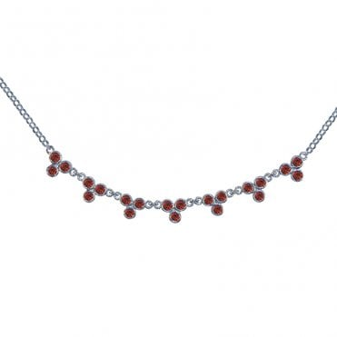 Ladies Shipton and Co Exclusive Silver and Garnet Necklace NQA061GR