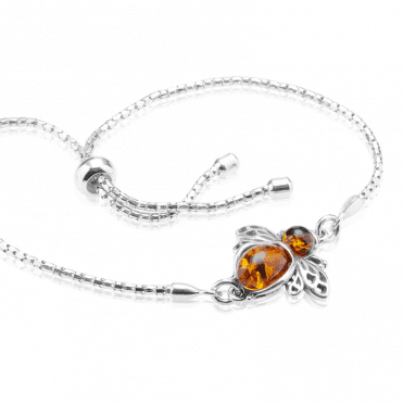 Easy Fitting Silver Bracelet Busy with an Amber Bee