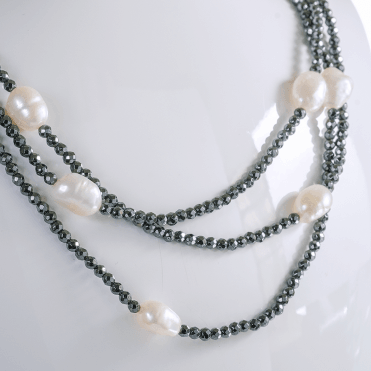 3 Strand Necklet of Baroque Pearl & Hematite