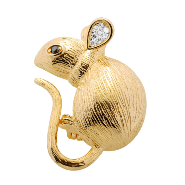 Sparkling 18ct Gold Plated Mouse Brooch
